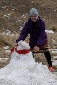 Majella and snow person